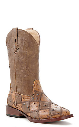 Roper Youth Brown And Tan Faux Ostrich Patchwork Square Toe Western Boots