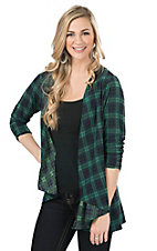 Jody Women's Green & Navy Plaid with Black Lace Cardy