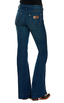 Wrangler Retro Women's Dark Wash High Rise Stretch Trouser Jean