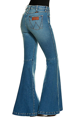 Wrangler Retro Light Wash High Rise Trumpet Flare Jeans