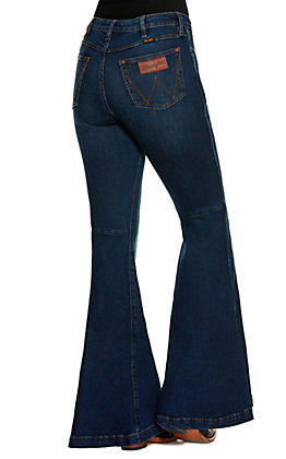 Wrangler Retro Women's Hallie Dark Wash High Rise Trumpet Flare Leg Premium Stretch Jeans