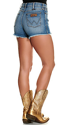 Wrangler Retro Women's Medium Wash High Rise Frayed Shorts