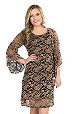 Jody Women's Black and Mocha Tan Lace 3/4 Bell Sleeve Dress