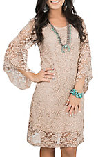 Jody Women's Blush Tan Lace 3/4 Bell Sleeve Dress