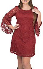 Jody Women's Brick Lace 3/4 Bell Sleeve Dress