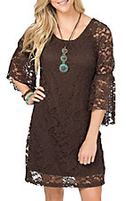 Jody Women's Brown Lace 3/4 Bell Sleeve Dress