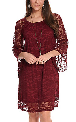 Jody Women's Burgundy Lace 3/4 Bell Sleeve Dress