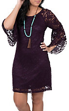 Jody Women's Eggplant Lace 3/4 Bell Sleeve Dress
