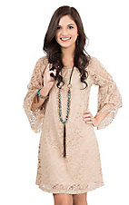 Jody Women's Coco Tan Lace 3/4 Bell Sleeve Dress
