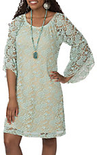 Jody Women's Mint Clear Water Allover Lace 3/4 Sleeve Dress
