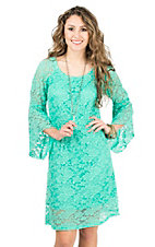 Jody Women's Mint Lace 3/4 Bell Sleeve Dress