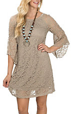 Jody Women's Mocha Lace Bell Sleeve Dress