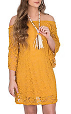 Jody Women's Mustard Lace 3/4 Bell Sleeve Dress