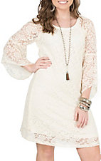 Jody Women's Ivory Lace 3/4 Length Bell Sleeve Dress