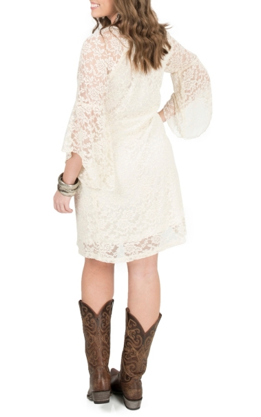 59bb182fc5d Jody Women s Ivory Lace 3 4 Length Bell Sleeve Dress  7GgSi1200346 ...