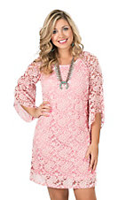 Jody Women's Rose Lace 3/4 Bell Sleeve Dress