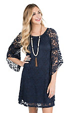 Jody Women's Navy Lace 3/4 Bell Sleeve Dress