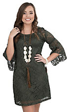 Jody Women's Olive Lace 3/4 Bell Sleeve Dress