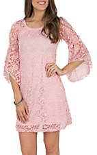 Jody Women's Pink Lace 3/4 Bell Sleeve Dress