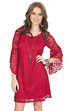 Jody Women's Red Lace 3/4 Bell Sleeve Dress