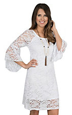 Jody Women's White Lace 3/4 Bell Sleeve Dress
