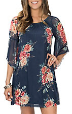 Jody Women's Navy Floral 3/4 Sleeve Dress