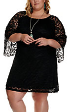 Jody Women's Black Lace 3/4 Bell Sleeve Dress - Plus Size