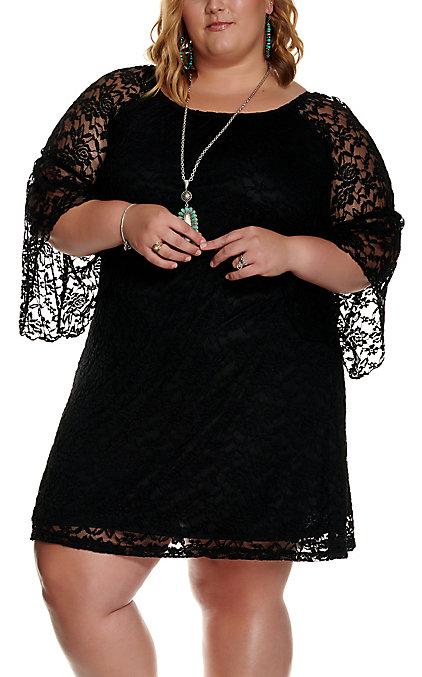 Jody Women\'s Black Lace 3/4 Bell Sleeve Dress - Plus Size