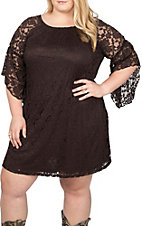 Jody Women's Brown Lace 3/4 Bell Sleeve Dress- Plus Sizes