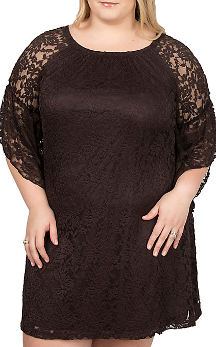 Jody Women\'s Brown Lace 3/4 Bell Sleeve Dress- Plus Sizes