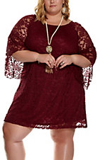 Jody Women's Burgundy Lace 3/4 Bell Sleeve Dress - Plus Sizes
