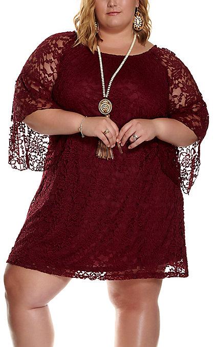 Jody Women\'s Burgundy Lace 3/4 Bell Sleeve Dress - Plus Sizes ...