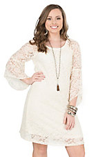 Jody Women's Ivory Lace 3/4 Length Bell Sleeve Dress - Plus Sizes