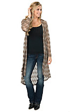 Jody Women's Taupe Chevron Crochet Long Sleeve Duster Cardigan