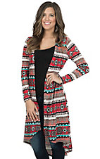 Jody Women's Red Aztec Print Long Sleeve Duster Cardigan
