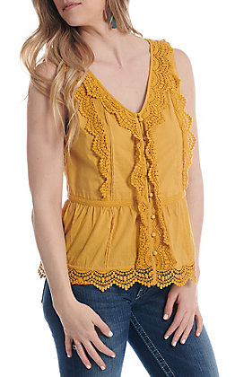 Anne French Mustard Lace V-Neck Button Down Fashion Top