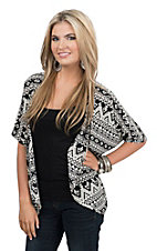 Jody Women's Black and White Aztec Print Cardigan