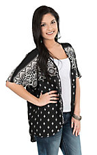Jody California Women's Black and White Aztec Print Kimono