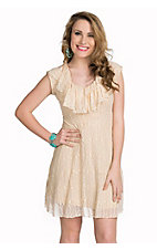 Jody California Women's Taupe Ruffled Collar Lace Dress