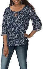 Cowgirl Legend Women's Navy Paisley Print 3/4 Length Sleeves Fashion Shirt