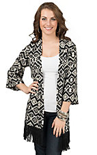 Jody Women's Black with White Aztec Diamond Print 3/4 Sleeve with Fringe Cardigan