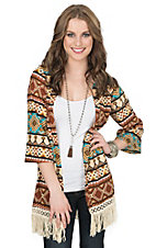 Jody Women's Rust, Taupe & Turquoise Print 3/4 Sleeve with Fringe Cardigan