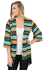 Jody Women's Black, Turquoise & Lime Green Print 3/4 Sleeve with Fringe Cardigan