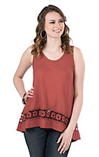 Jody Women's Brick with Crochet Details Sleeveless Tank Top
