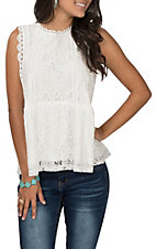 April Sky Women's Ivory Lace Tank