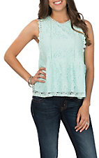April Sky Women's Mint Lace Tank