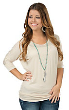 Jody Women's Solid Natural Cream 3/4 Dolman Sleeve Tunic