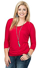 Jody Women's Solid Red 3/4 Dolman Sleeve Tunic