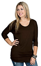 Jody California Women's Solid Brown Doman Tunic Top