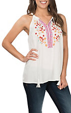 April Sky Women's Ivory Floral Embroidered Halter Fashion Shirt